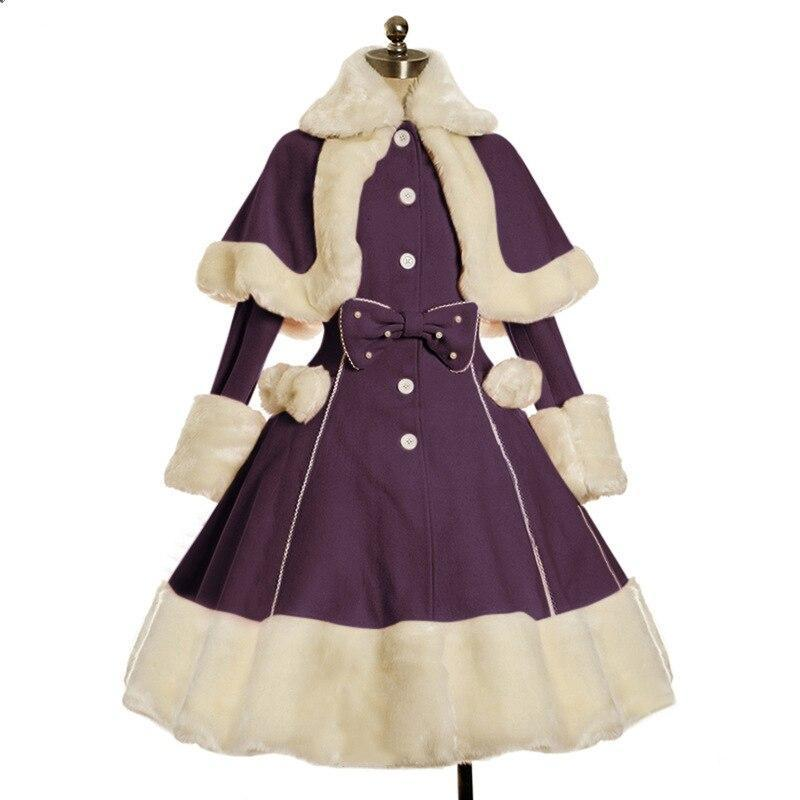 Anbenser Winter Vintage Lolita Dress Suit Women Fur Collar Long Sleeves Shawl Cute Single breasted Warm Thick Gothic Bow Dresses|Lolita Dresses| - AliExpress