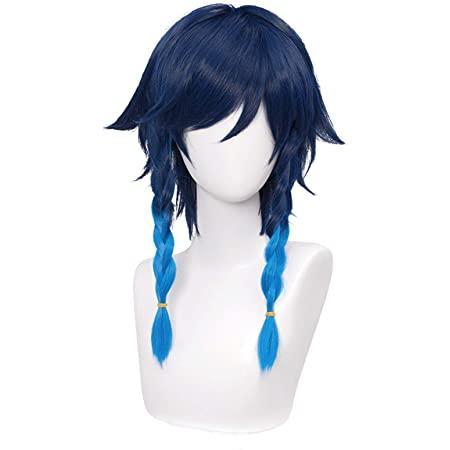 Amazon.com : SL Navy Blue Wig for Venti Genshin Impact 2 Tone Anime Cosplay Hair Wigs with Braids Ponytails Bangs + Cap (Dark Blue) : Beauty